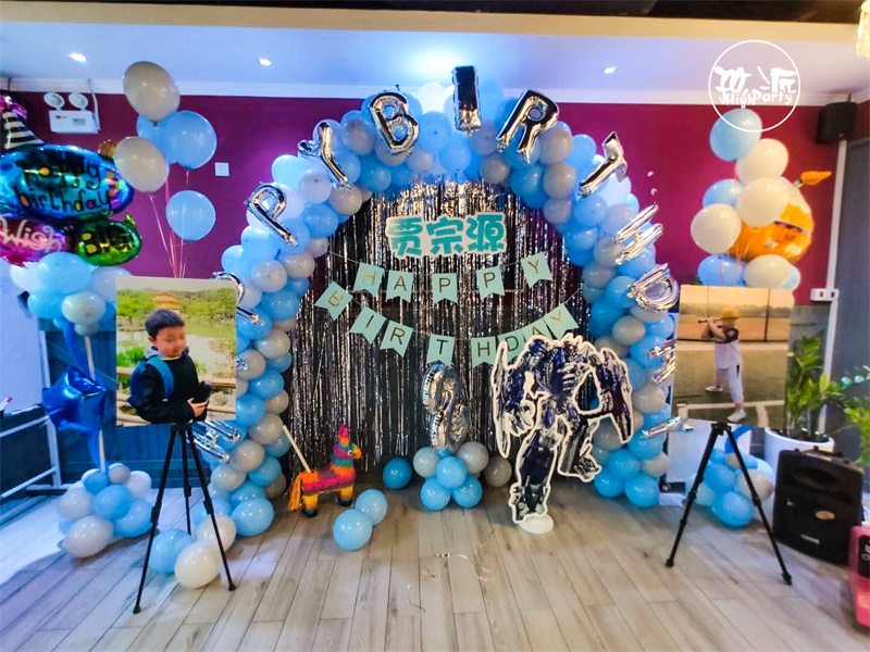 蓝色海洋气球生日party